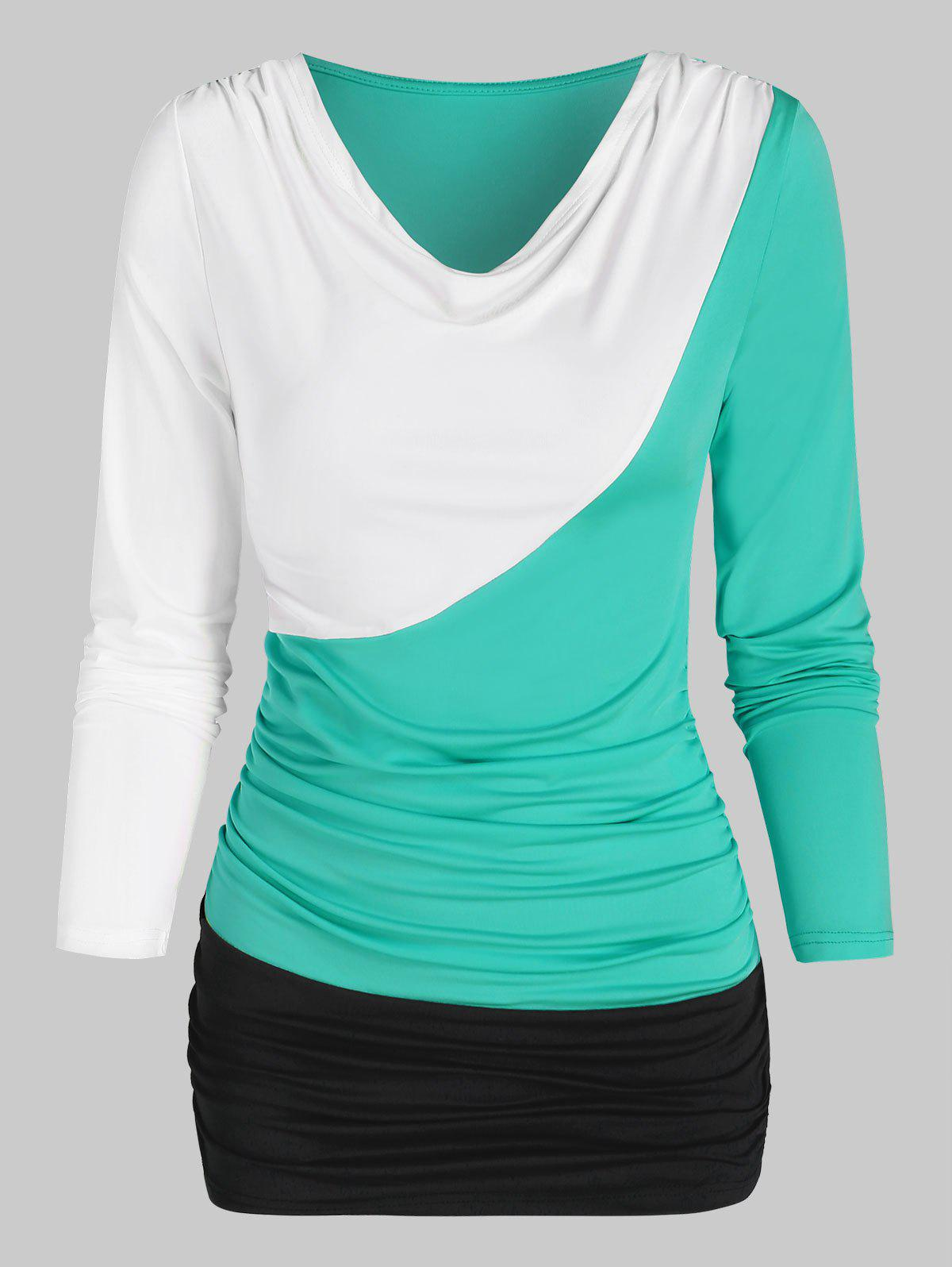 rosegal Contrast Long Sleeve Ruched T-shirt