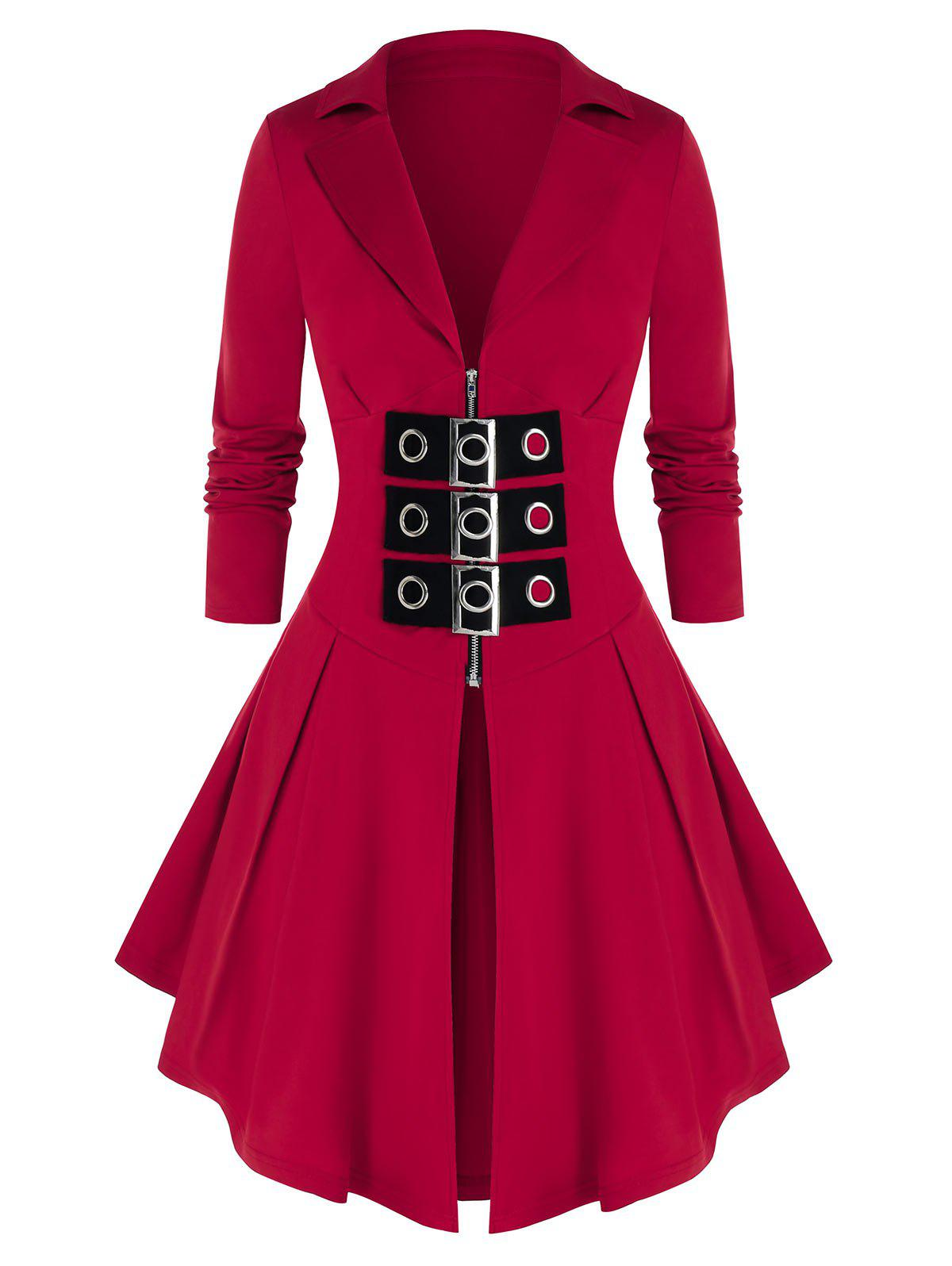 Outfits Plus Size Zip Front Buckles Skirted Coat