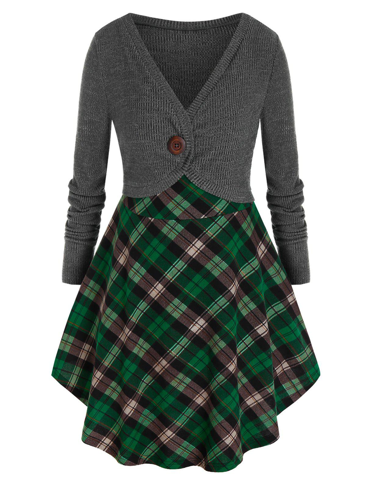 Unique Plus Size Contrast Plaid Skirted Mixed Media Tunic Sweater
