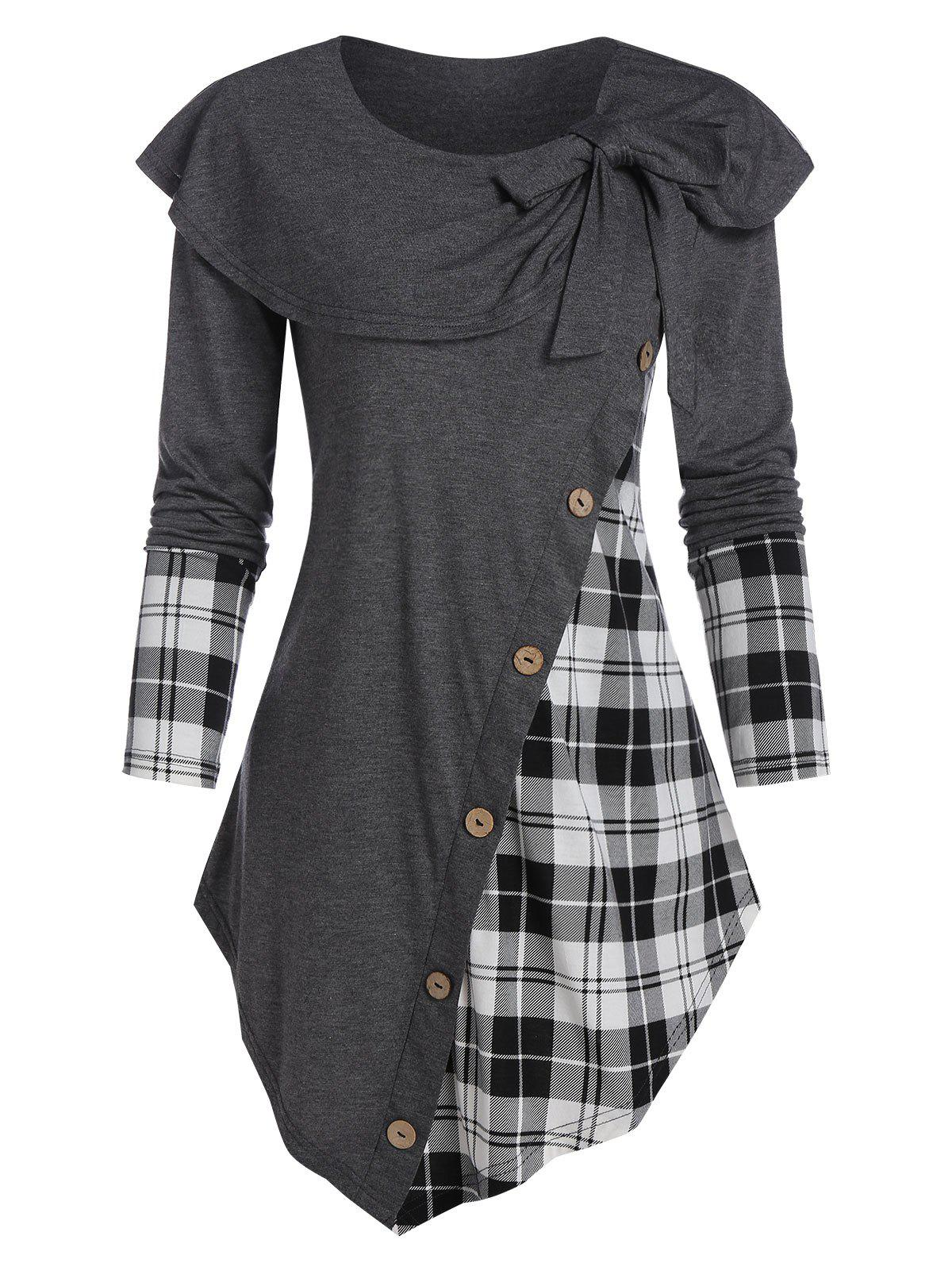 Fashion Bowknot Plaid Asymmetric T Shirt