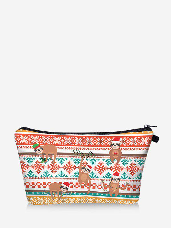 Chic Christmas Animal Snowflake Digital Print Storage Makeup Bag