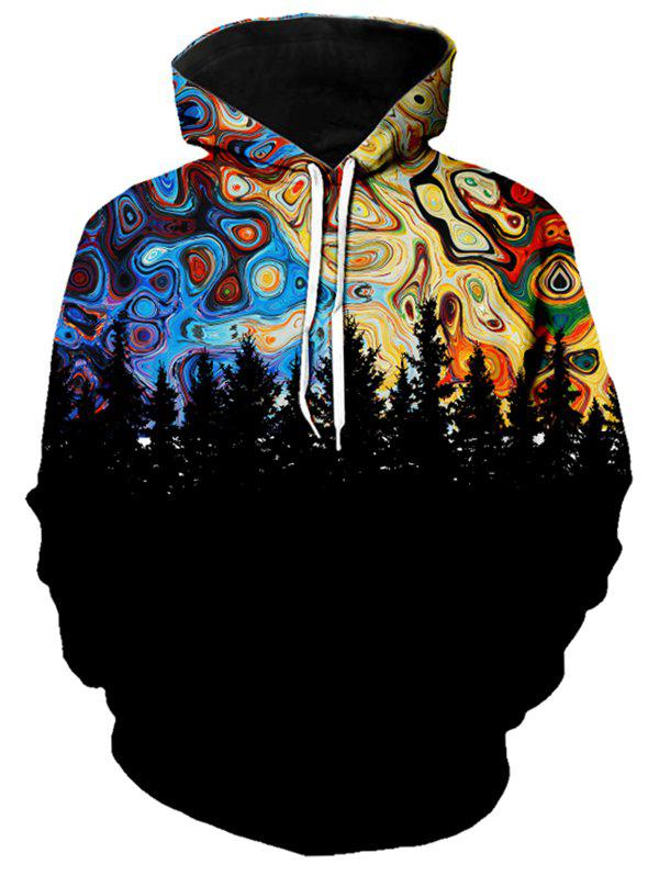 Outfits Forest Galaxy Print Kangaroo Pocket Hoodie