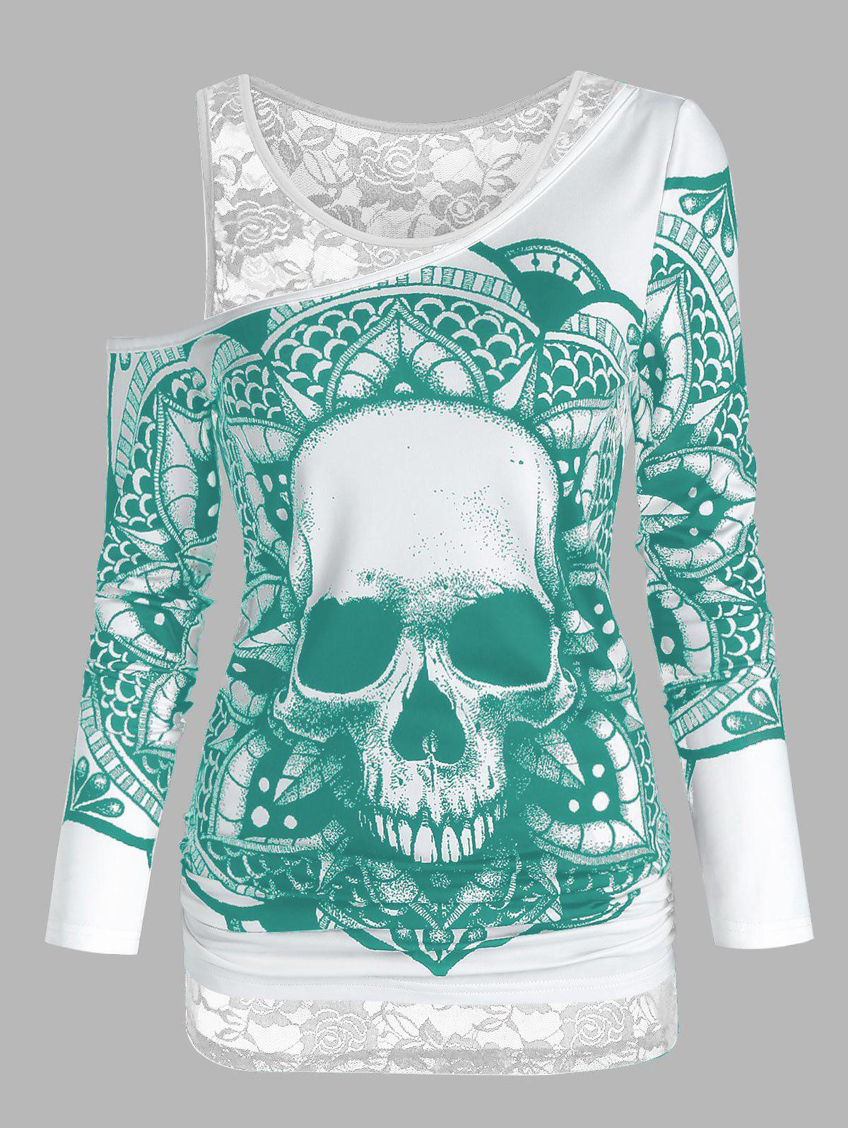 Latest Skull Graphic Cold Shoulder Two Piece T Shirt Sets