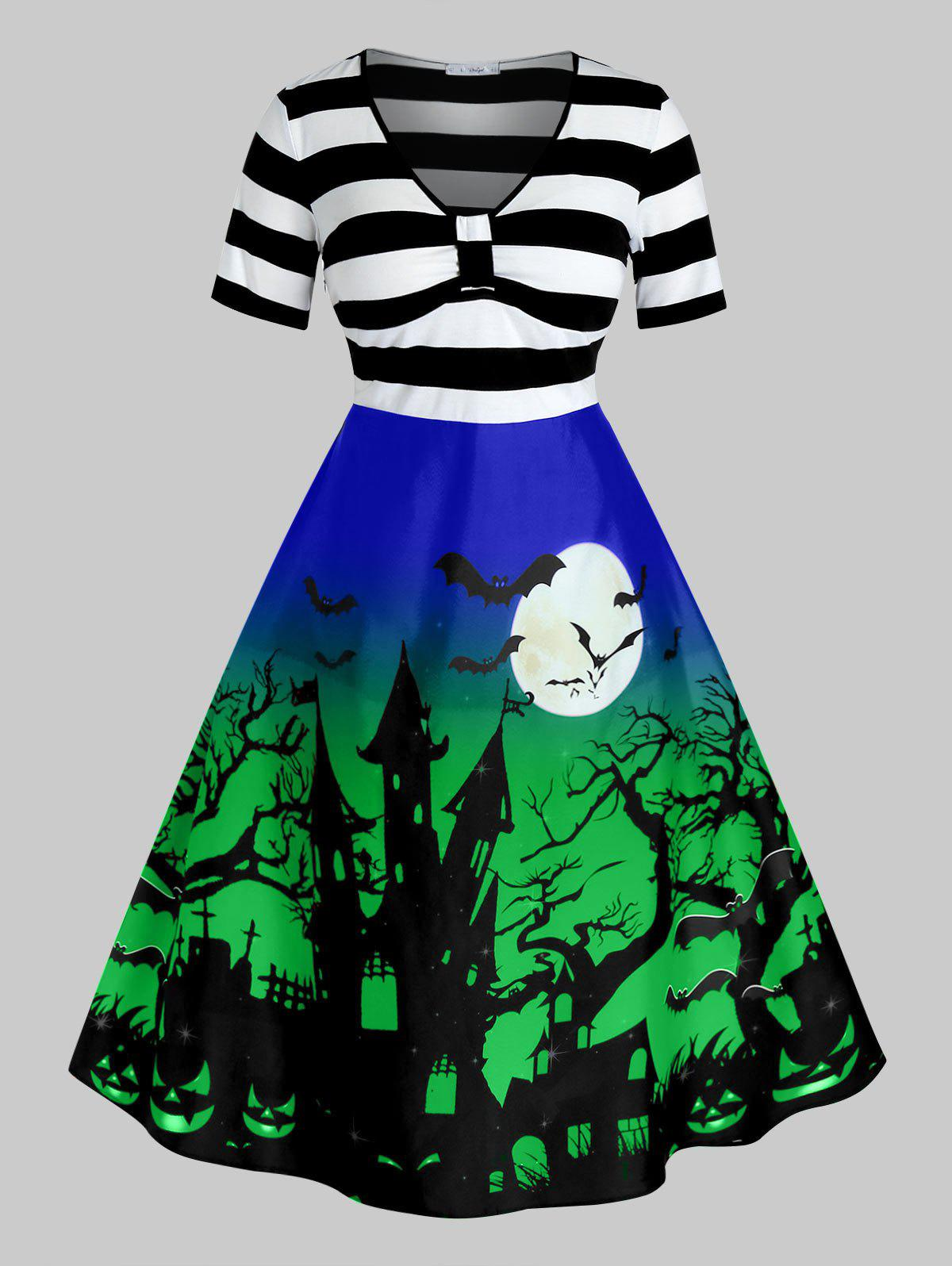 New Plus Size Halloween Printed Vintage Pin Up Dress