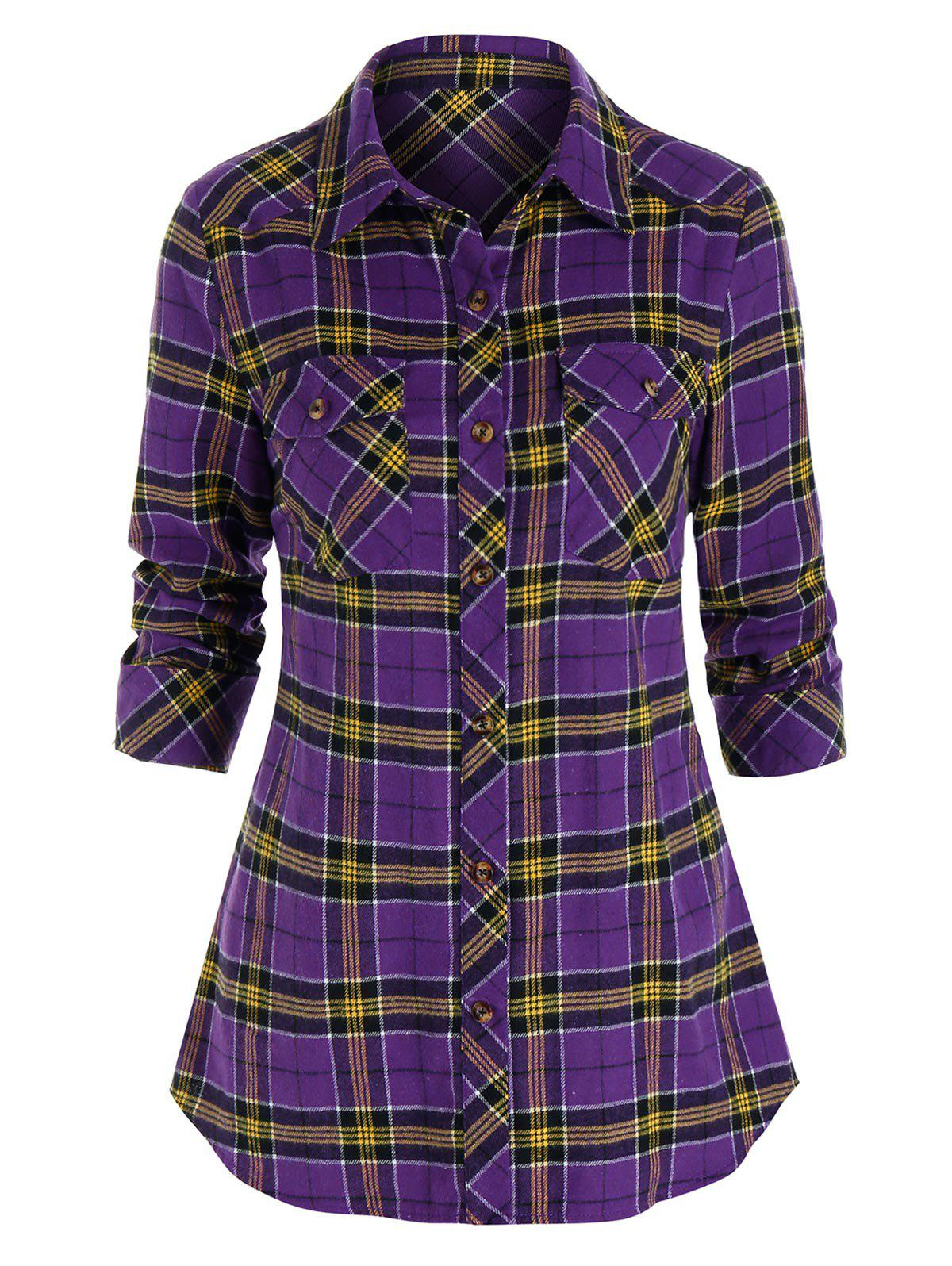 Affordable Plaid Print Button Up Double Pockets Shirt