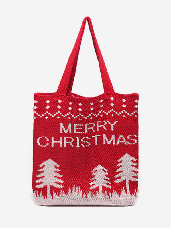 Online Christmas Tree Pattern Hand-knitted Tote Bag