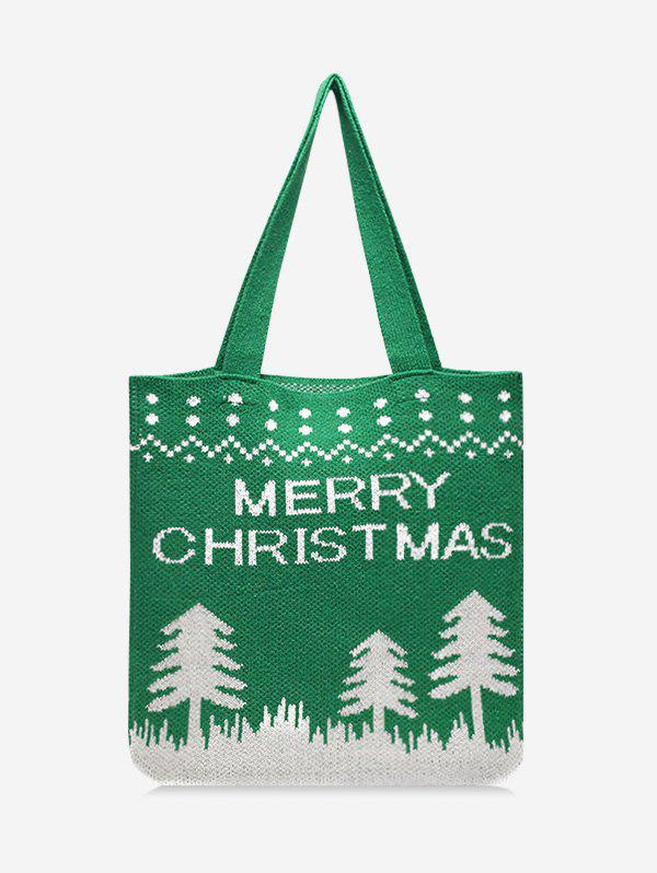 Latest Christmas Tree Pattern Hand-knitted Tote Bag