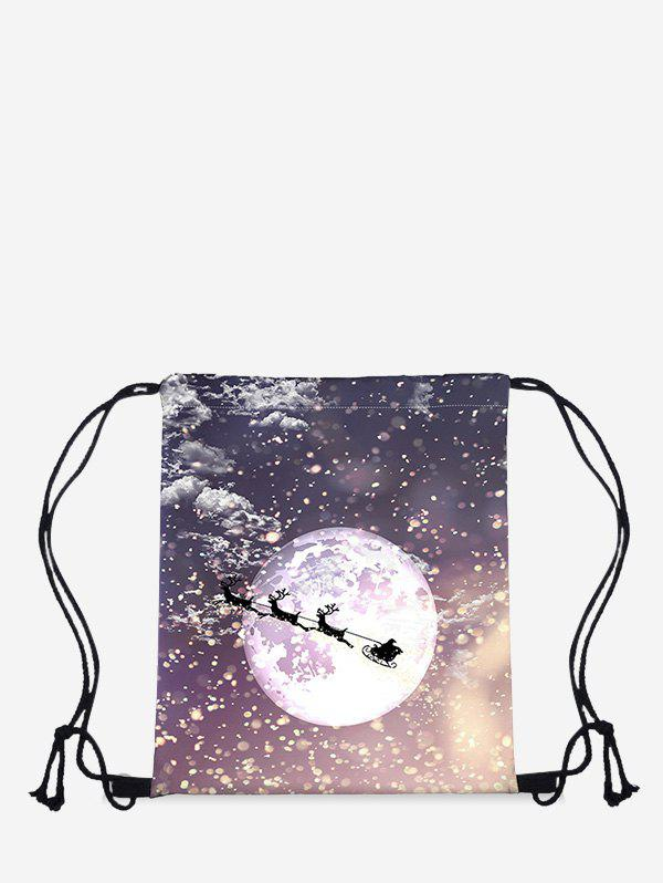 Outfit Christmas Moon Elk Digital Print Cinch Bag