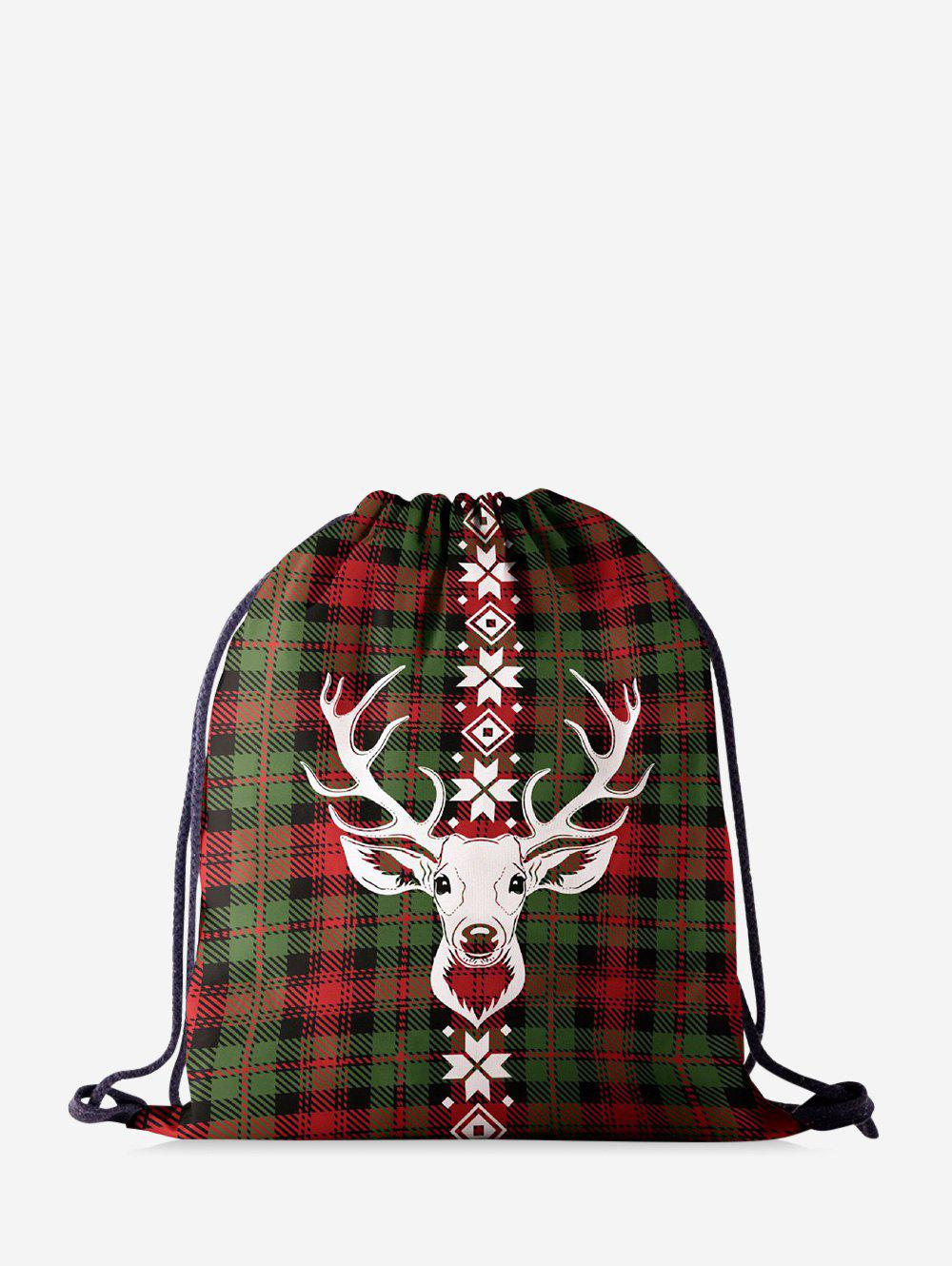 Discount Christmas Plaid Elk Digital Printing Cinch Bag