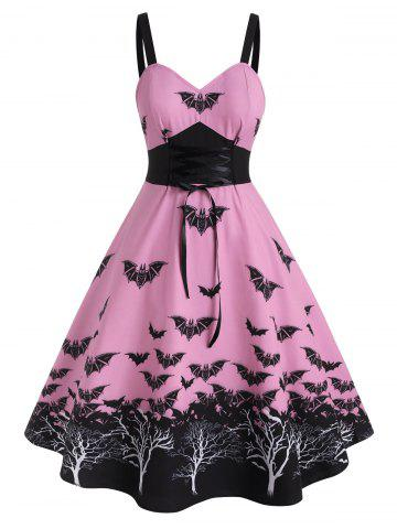 Plus Size Halloween Vintage Lace Up Bat Print Dress