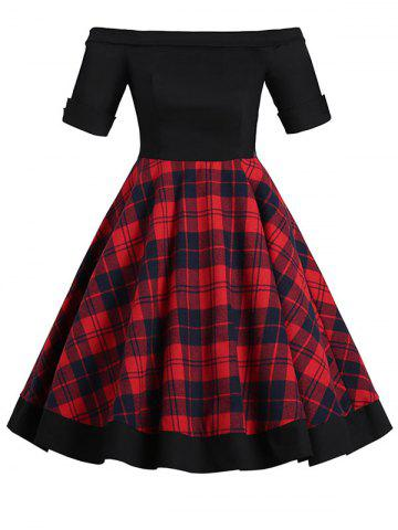 Tartan Off Shoulder Foldover Mini Dress