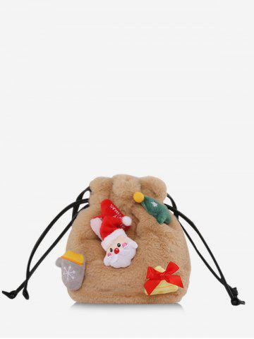 Santa Claus Plush Drawstring Crossbody Bucket Bag