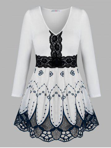Plus Size Lace Insert Flower Embroidered Blouse - WHITE - 3X
