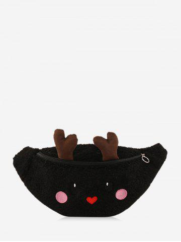 Christmas Cartoon Elk Faux Lambswool Chest Bag