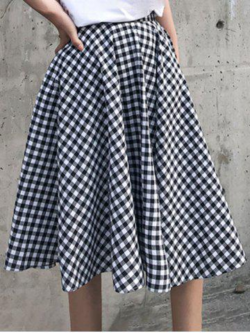 Gingham Flared Skirt - BLACK - S