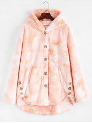 Plus Size Tie Dye Hooded Faux Fur Single Breasted Coat -