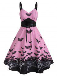 Plus Size Halloween Vintage Lace Up Bat Print Dress -