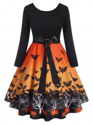 Plus Size Halloween Vintage Bats Print Dress -