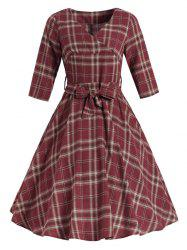 Belted Tartan Surplice Dress -