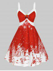 Plus Size Christmas Bicolor Elk Snowflake Print Dress -