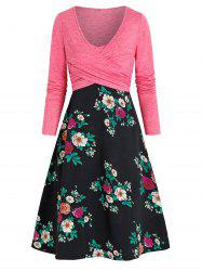 Crossover Top and Floral Cami Dress Set -