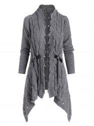 Open Knit Buckle Embellished Asymmetrical Cardigan -