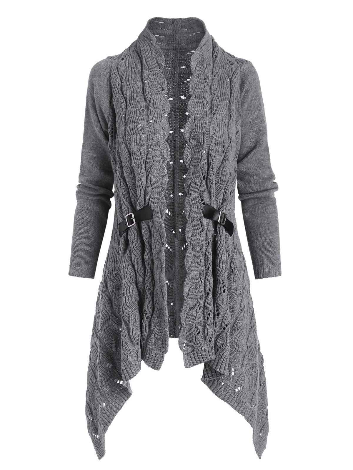 Hot Open Knit Buckle Embellished Asymmetrical Cardigan