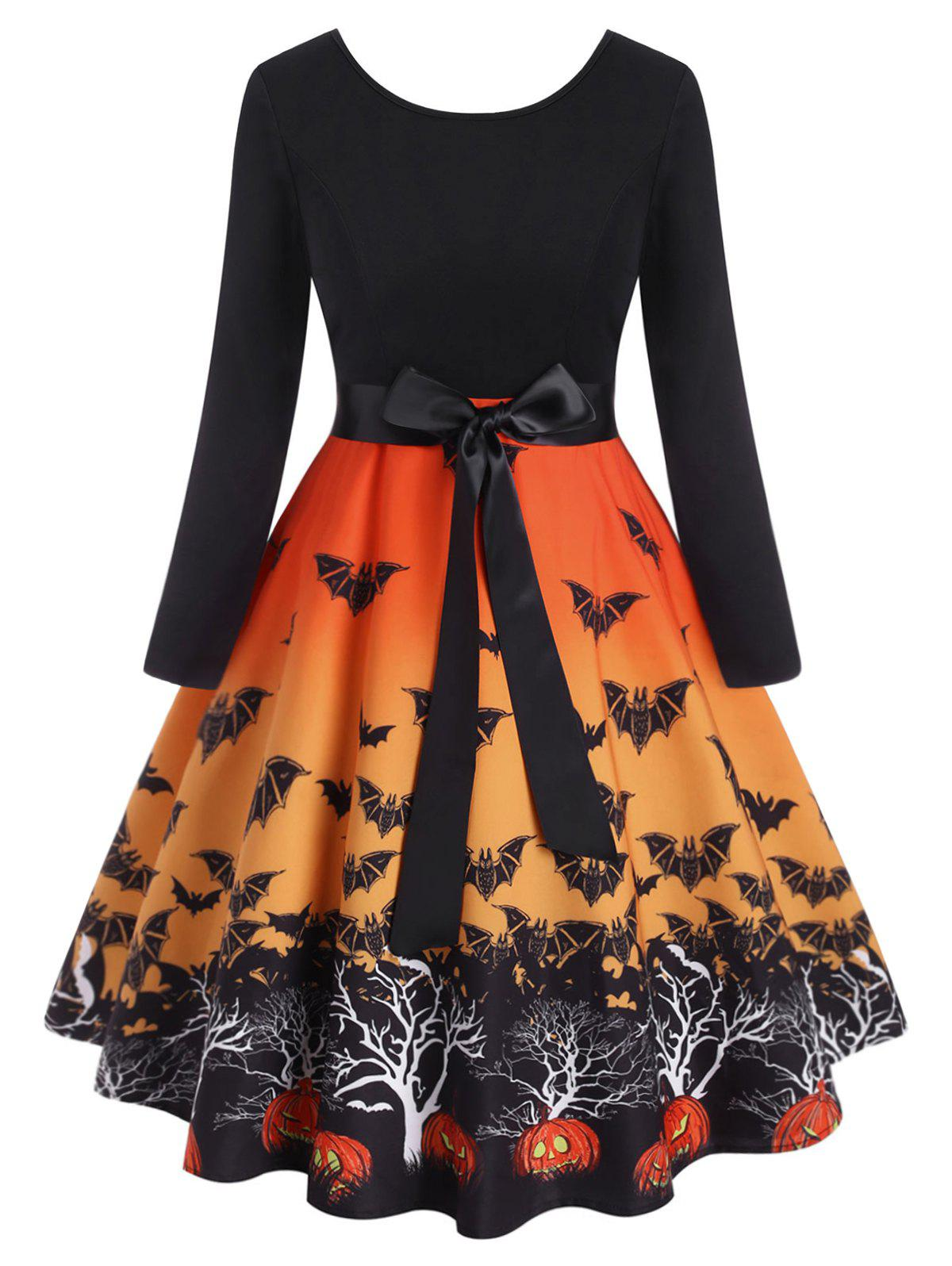 Cheap Plus Size Halloween Vintage Bats Print Dress
