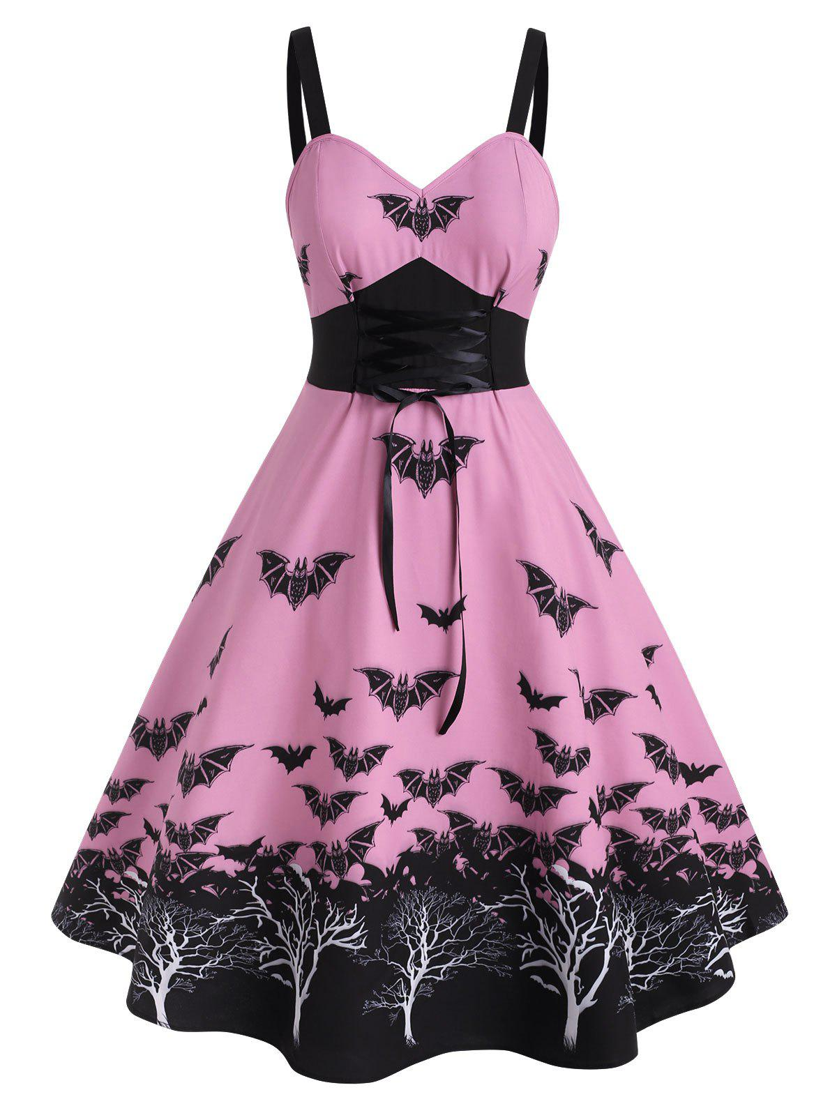 Affordable Plus Size Halloween Vintage Lace Up Bat Print Dress