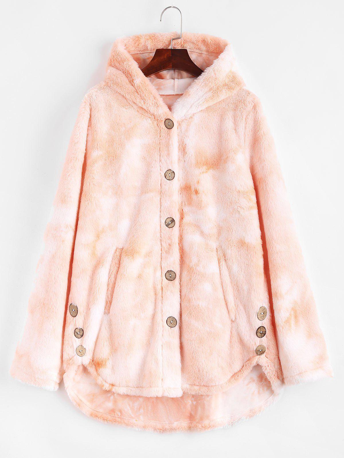 Shop Plus Size Tie Dye Hooded Faux Fur Single Breasted Coat