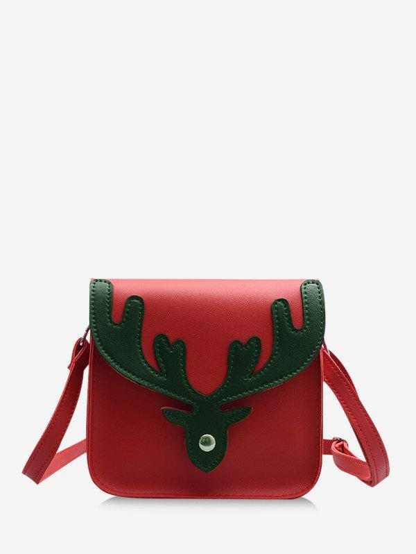 Christmas Colorblock Antler Pattern Crossbody Bag