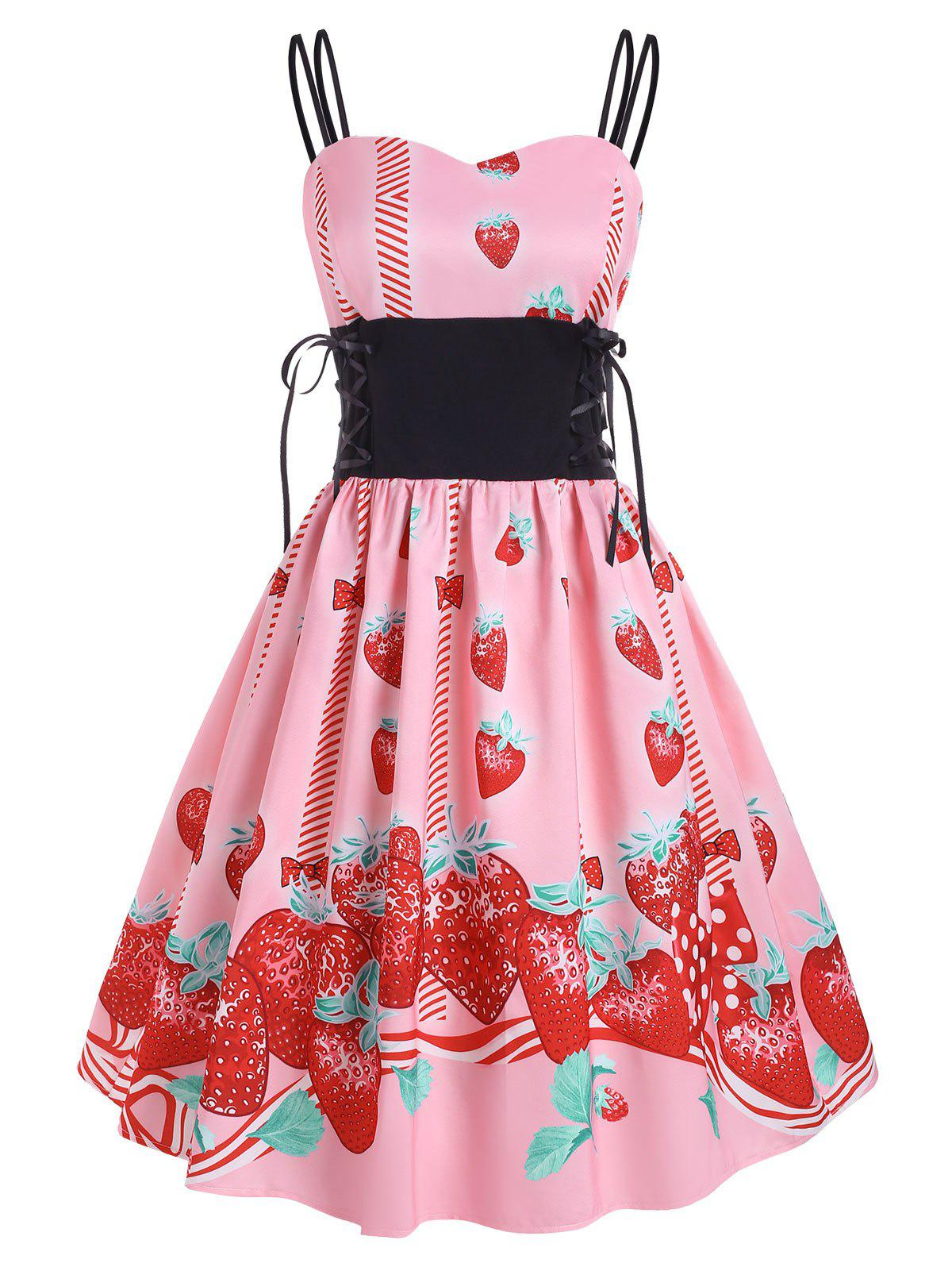 Online Lace Up Strawberry Bowknot Print Dress