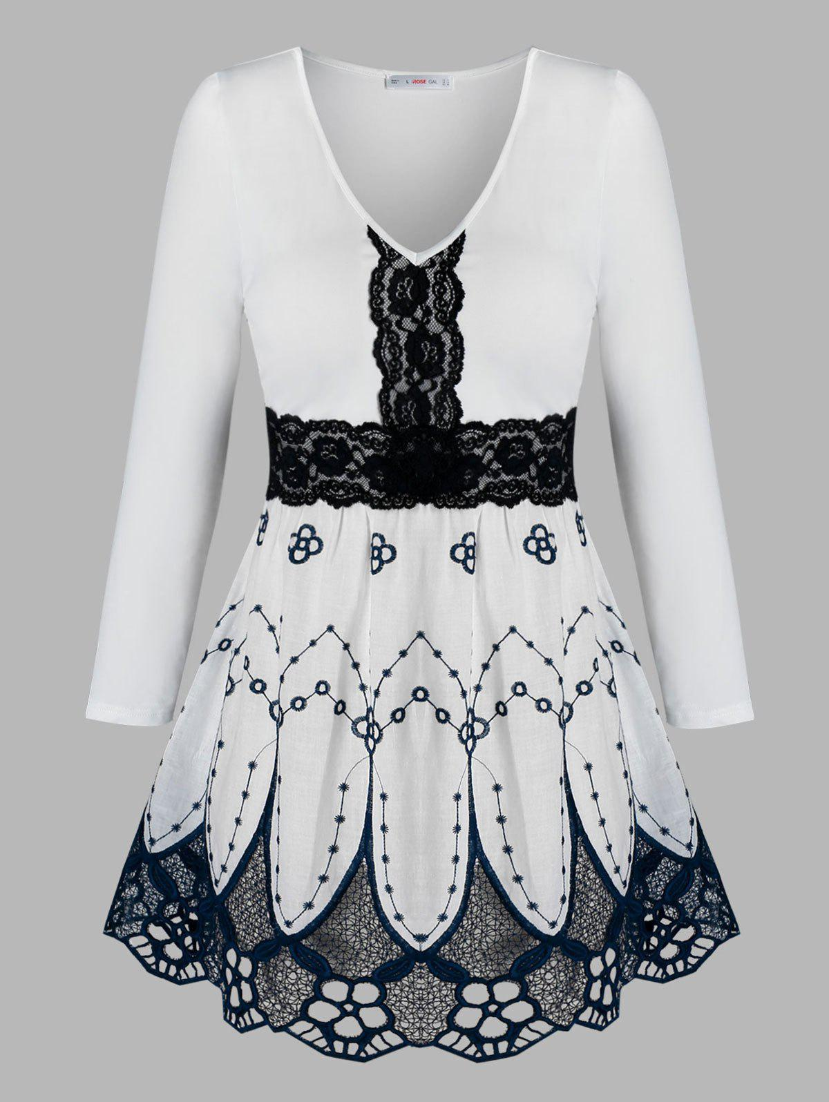 Sale Plus Size Lace Insert Flower Embroidered Blouse
