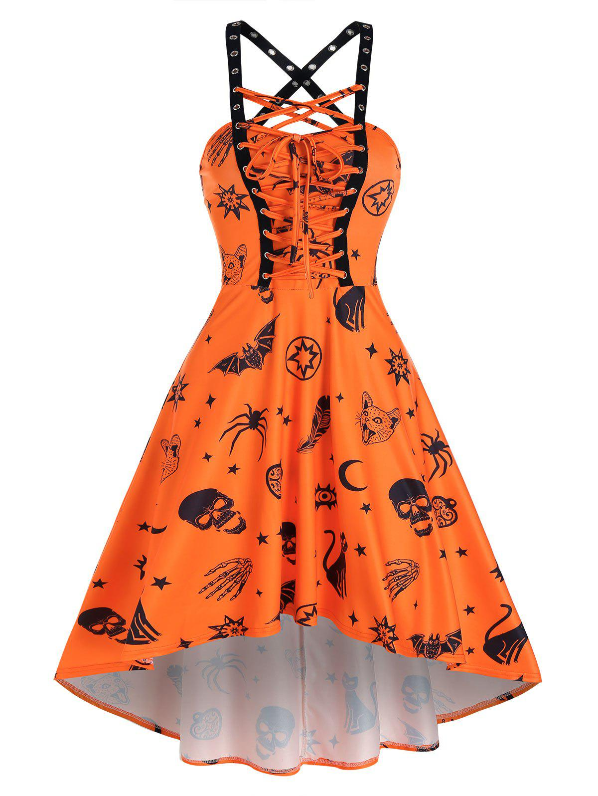 Latest Skull Animal Print Lace Up Cami High Low Dress