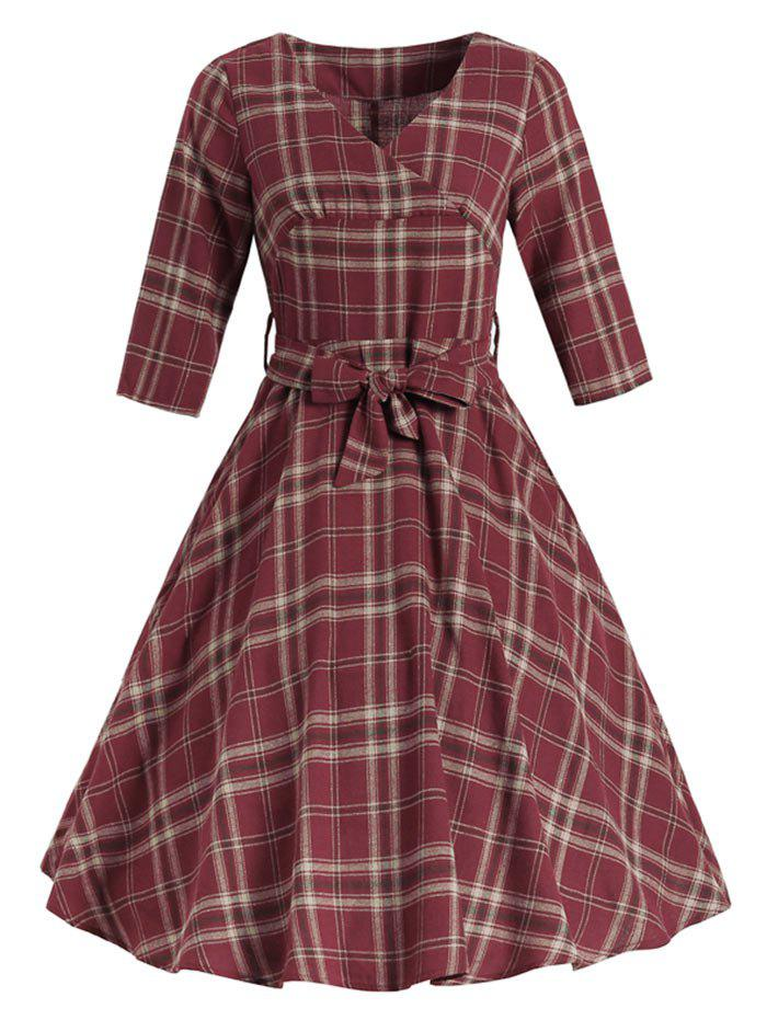 Latest Belted Tartan Surplice Dress
