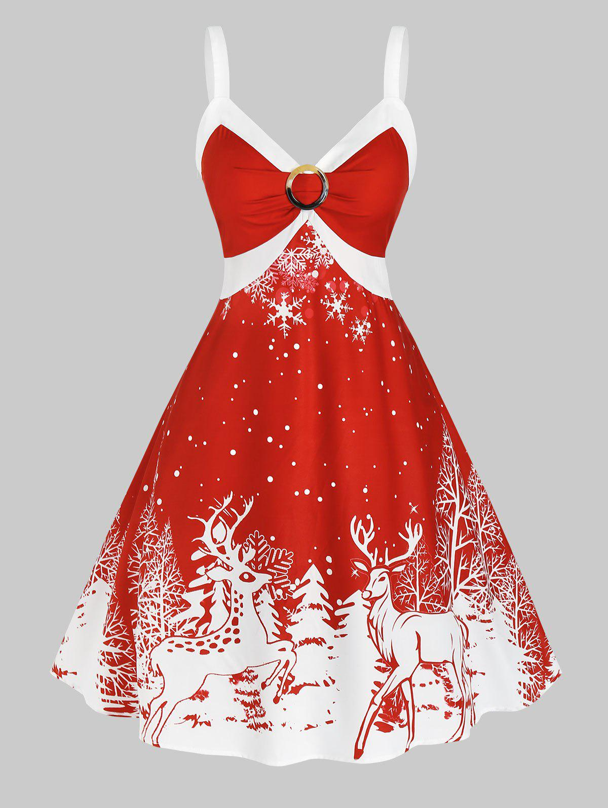 Fancy Plus Size Christmas Bicolor Elk Snowflake Print Dress