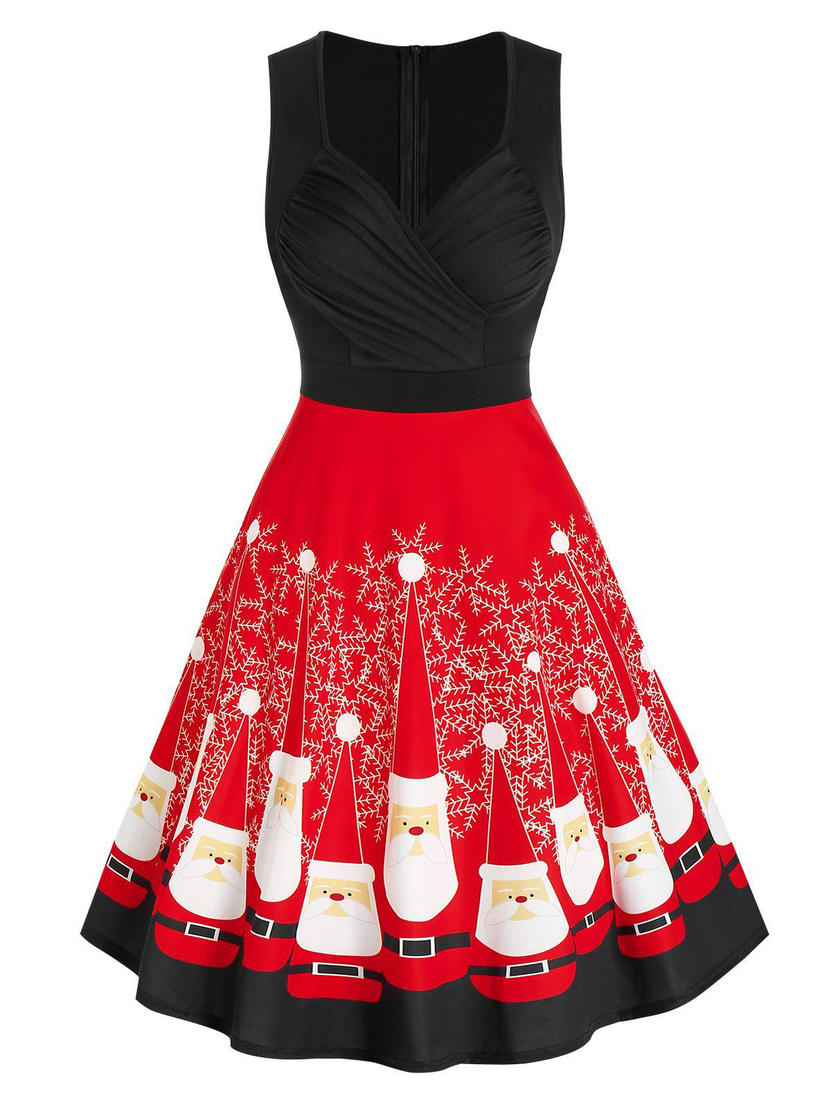 Trendy Christmas Santa Claus Print Ruched Dress