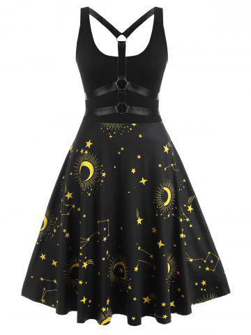 O-ring Strappy Back Star Moon Print Plus Size Dress