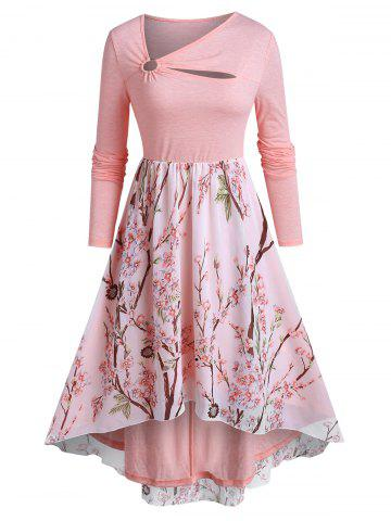 Long Sleeve Floral Print O-ring High Low Dress