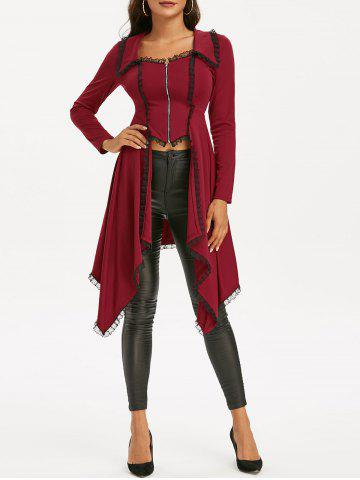 Lace-up Lace Trim Faux Twinset Skirted Coat - RED WINE - 3XL