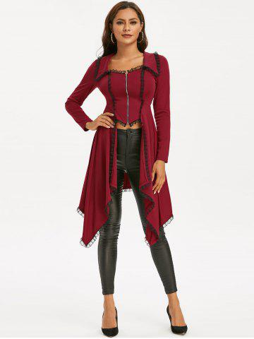 Lace-up Lace Trim Faux Twinset Skirted Coat
