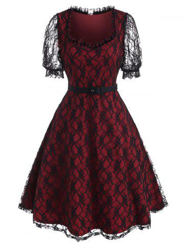 Puff Sleeve Overlay Lace A Line Dress