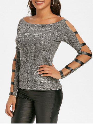 Faux Leather Panel Heathered Ladder Cutout Sleeve Knitwear