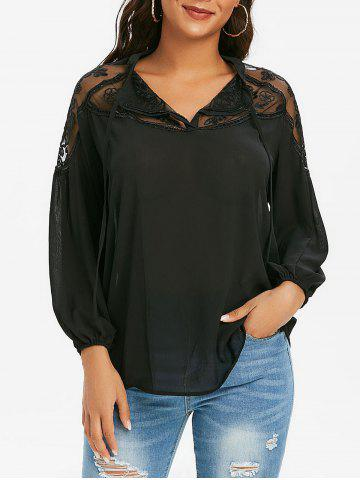 Mesh Embroidered Tie Front Casual Blouse - BLACK - XL