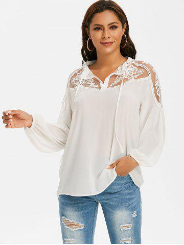 Mesh Embroidered Tie Front Casual Blouse
