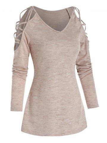 Cold Shoulder Criss-cross Heathered Ribbed T-shirt