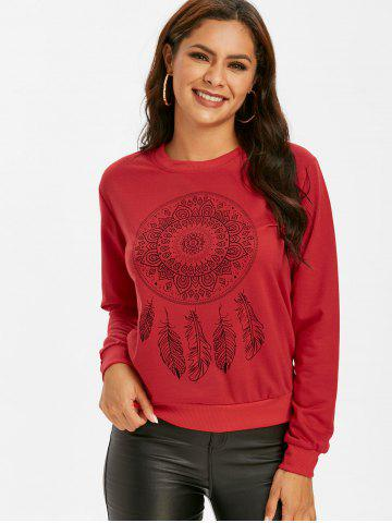 Feather Graphic Crew Neck Pullover Sweatshirt