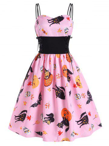 Halloween Pumpkin Cat Skull Print Lace Up Dress - PIG PINK - 2XL
