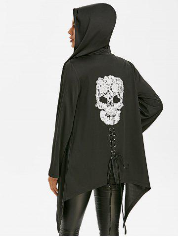 Halloween Skull Lace Asymmetric Gothic Jacket - BLACK - 2XL