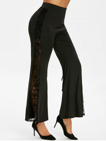 Halloween Skull Lace Insert Flare Pants - BLACK - M